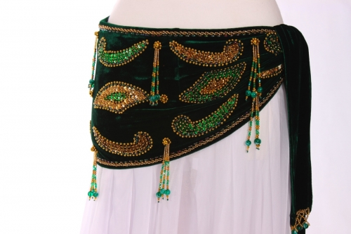 Velvet paisley belly dance belt - emerald green with gold
