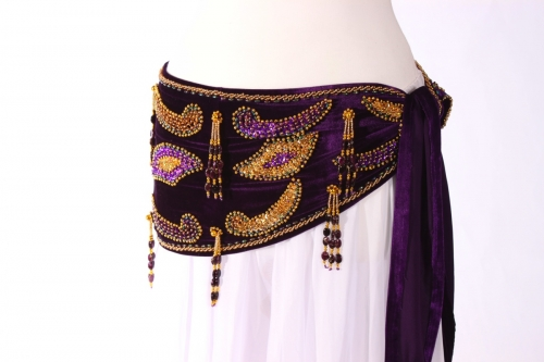 Velvet paisley belly dance belt - Dark purple with gold