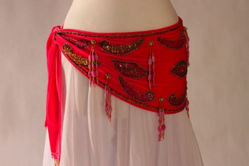 Velvet paisley belly dance belt - barbie pink with gold