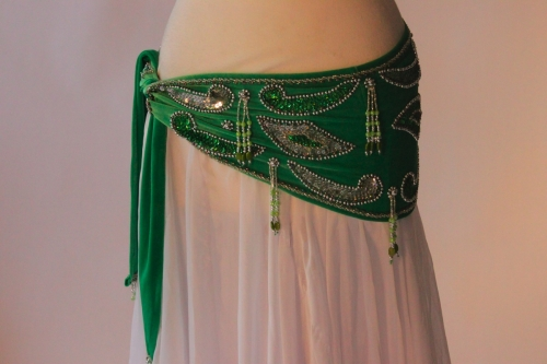 Velvet paisley belly dance belt -  electric green with silver