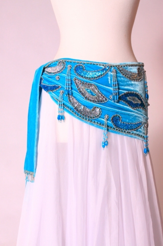 Velvet paisley belly dance belt - light blue with silver