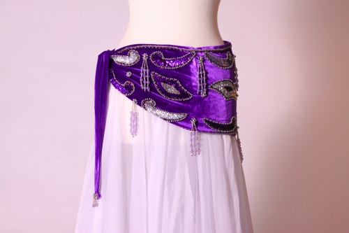 Velvet paisley belly dance belt - purple with silver
