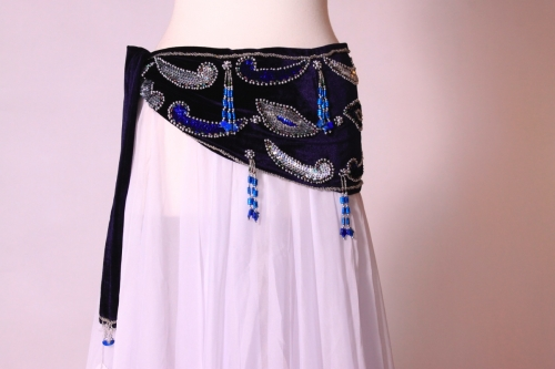 Velvet paisley belly dance belt - deep blue with silver