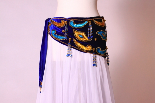 Velvet paisley belly dance belt - royal blue with gold