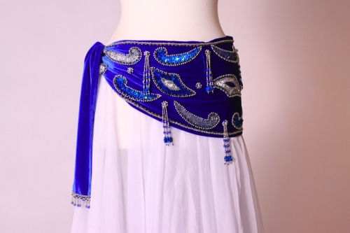 Velvet paisley belly dance belt - Royal blue with silver