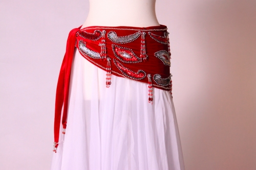 Velvet paisley belly dance belt - True red with silver