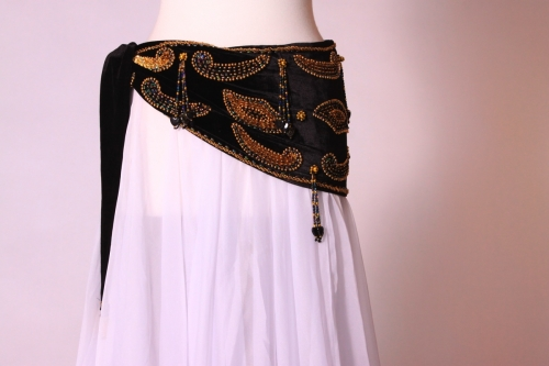 Velvet paisley belly dance belt - black with gold