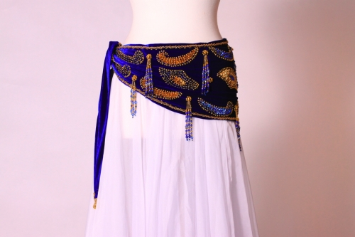 Velvet paisley belly dance belt - royal blue + gold