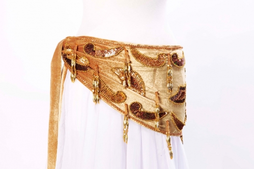 Velvet paisley belly dance belt - Gold with gold