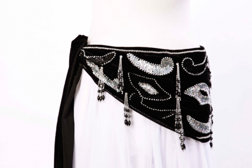 Velvet paisley belly dance belt - black with silver