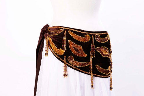 Velvet paisley belly dance belt -  dark chocolate with gold