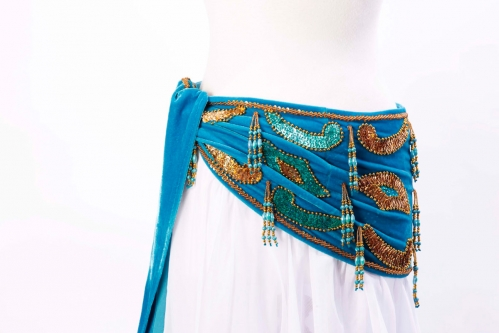 Velvet paisley belly dance belt -  light blue with gold