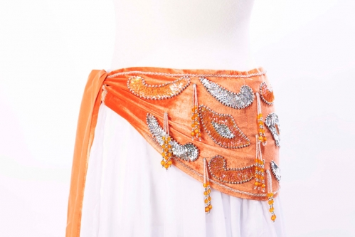 Velvet paisley belly dance belt -  orange with silver