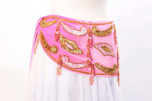 Velvet paisley belly dance belt -    Pink with gold
