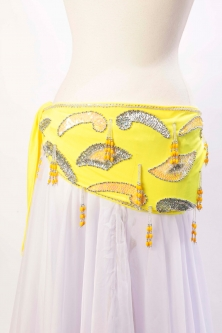 Velvet paisley belly dance belt - Yellow lycra with silver