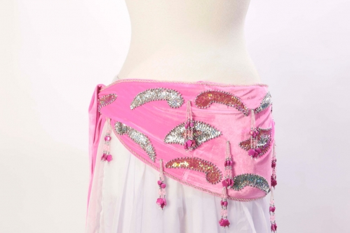 Velvet paisley belly dance belt - pink with silver