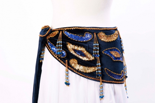 Velvet paisley belly dance belt - Midnight blue with gold