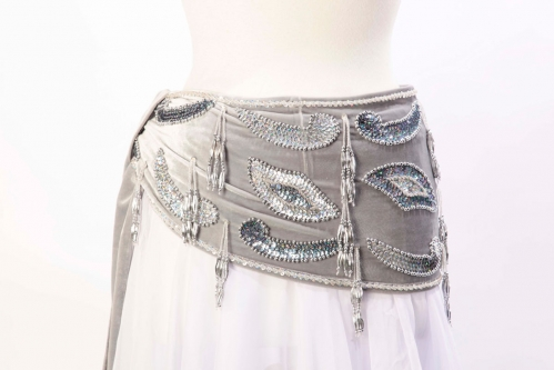 Velvet paisley belly dance belt - Dove and silver