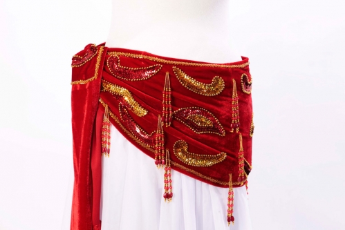 Velvet paisley belly dance belt - true red