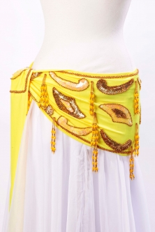 Velvet paisley belly dance belt - Yellow with gold