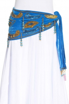 Velvet paisley belly dance belt - Turquoise with gold