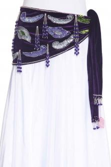 Velvet paisley belly dance belt - Purple with silver