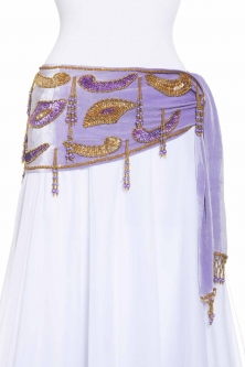 Velvet paisley belly dance belt - Lilac with gold