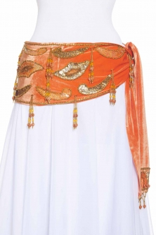 Velvet paisley belly dance belt - Orange with gold