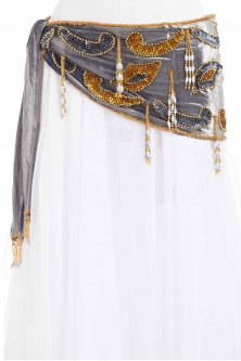 Velvet paisley belly dance belt - Grey with gold