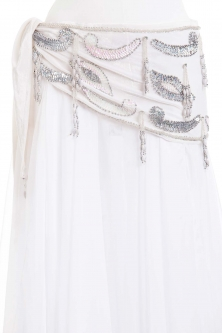 Velvet paisley belly dance belt - White with silver