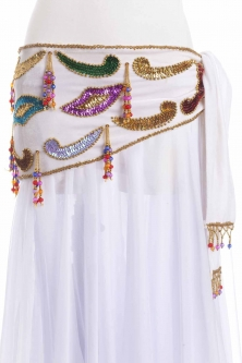 Velvet paisley belly dance belt - White with gold and colours