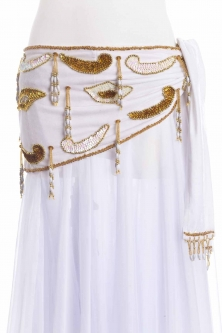 Velvet paisley belly dance belt - White with gold