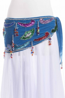 Velvet paisley belly dance belt - Turquoise with silver