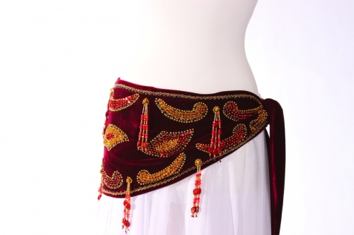 Velvet paisley belly dance belt - Maroon with gold
