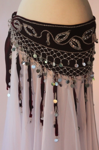 Velvet tasselled belly dance belt